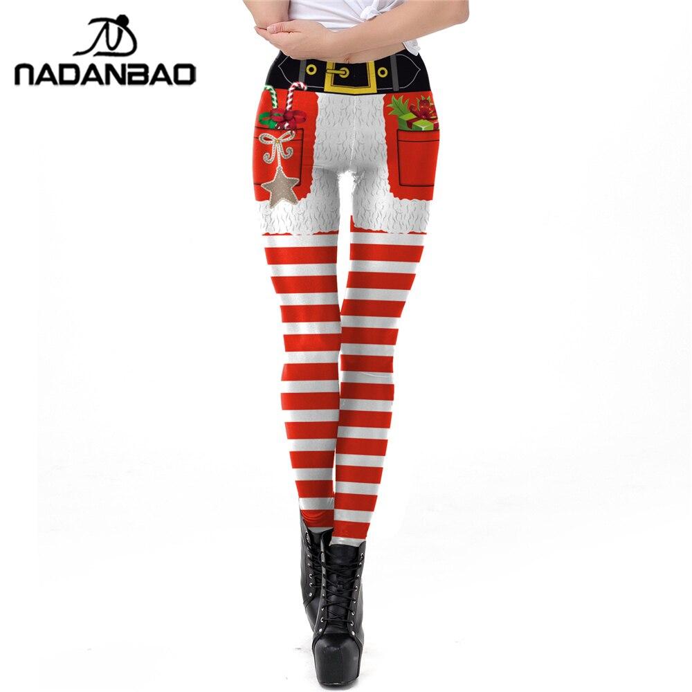 NADANBAO Stripe Tribal Leggings Women Plus Size Leggins Christmas Belt Pocket Gift Autumn Winter Festival Legging