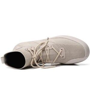 Image 3 - Misalwa Mannen Sok Schoenen 38 45 Hoge Top Casual Stretch Mannen Vulcaniseer Schoen Winter Lente Lace Up Sneakers flat/2.5Cm Toenemende