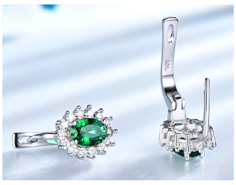 HTB1O2kwbffsK1RjSszgq6yXzpXa8 UMCHO 925 Sterling Silver Earrings Gemstone Created Emerald Clip Earrings For Female Birthday Anniversary Gifts Fine Jewelry
