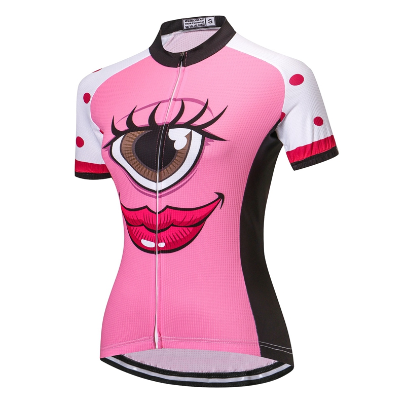 b307cbcc7 big eyes Pink Cycling Jersey Women Bike Clothing Bicycle Top Ropa Ciclismo  Sport T Shirt Short sleeve Maillot Girl Riding Jersey-in Cycling Jerseys  from ...