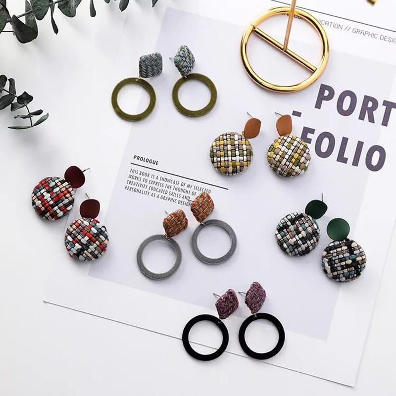 2019 Alloy Vintage Women Sale Brincos Oorbellen Brinco New Velvet Earrings Retro Geometric Wool Buttons Ladies Jewelry in Drop Earrings from Jewelry Accessories