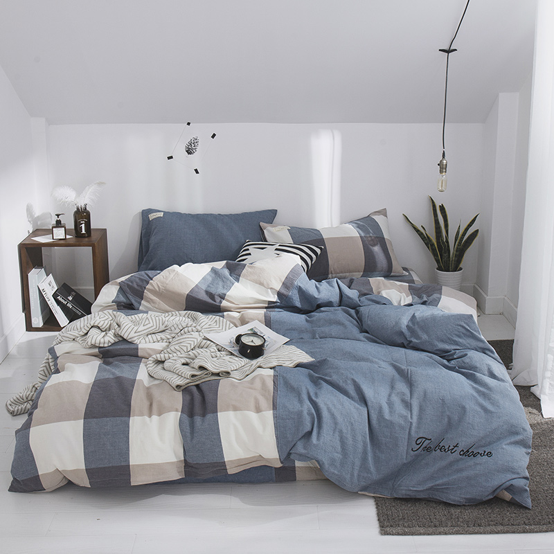 Blue Large Plaid Stitching Pattern 3/4pcs Family Set Include Bed Sheet Duvet Cover Set Pillowcase Boy Room Flat Sheet Set Soft Blue Large Plaid Stitching Pattern 3/4pcs Family Set Include Bed Sheet Duvet Cover Set Pillowcase Boy Room Flat Sheet Set Soft