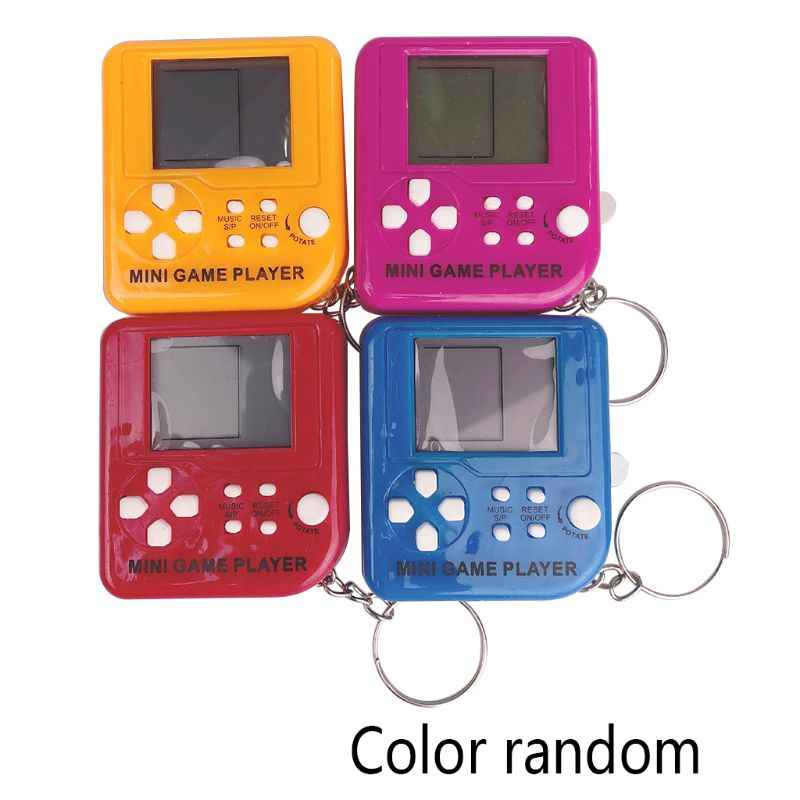 Portable Mini Retro Classic Tetris Game Console Keychain LCD Handheld Game Players Anti-stress Electronic Toys Keychain