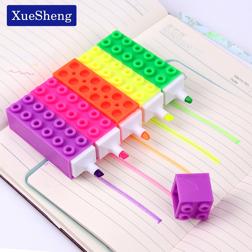 5 Color Creative Building Blocks Highlighter Marking Pen Cute Kawaii Graffiti Pens Child Student Painting Stationery