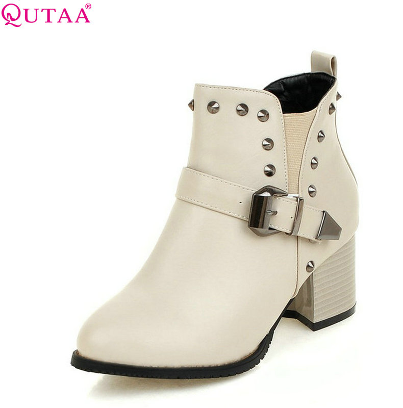 QUTAA 2018 Square High Heel Women Ankle Boots Fashion Zipper Round Toe Rivet Design Westrn Style Women Boots Size  34-43 цены онлайн