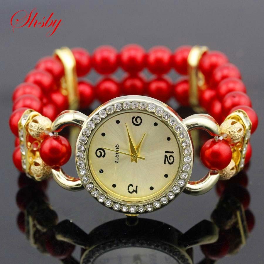 shsby Нові жіночі Rhinestone кварц Аналоговий браслет наручні годинники леді плаття годинник з барвистими перлами