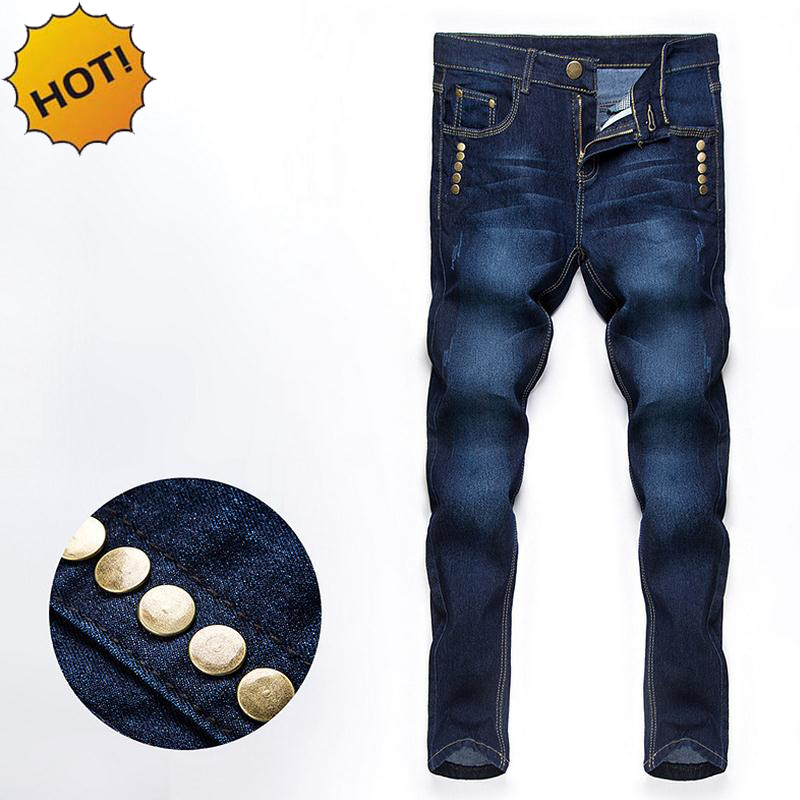 Hot Teenagers Slim Fit Stretch Straight Denimn Multi Rivet Jeans Men Casual Dark Blue Show Thin Moustache Effect Bottoms 28-34