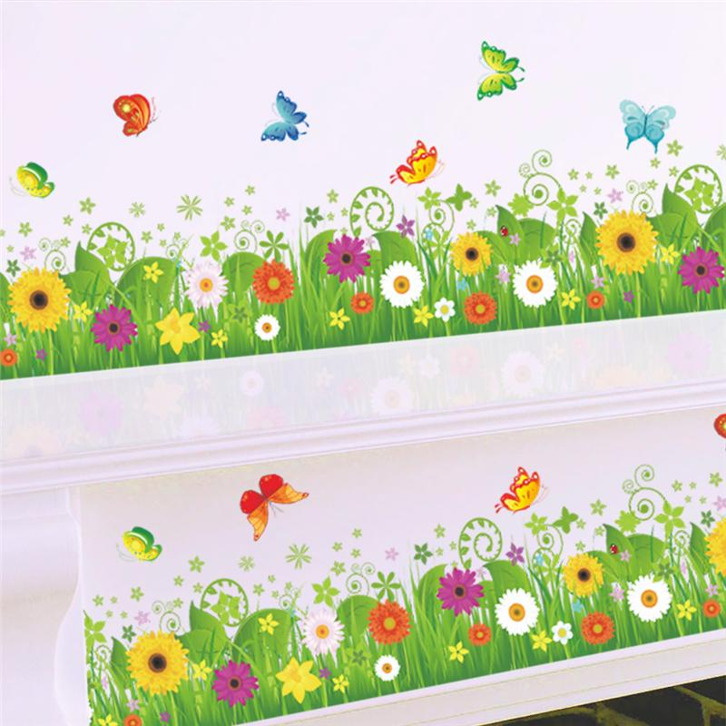 colorful flowers butterflies fences baseboard wall decals home decor