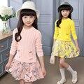 Vestido de las muchachas Florales Otoño Cartoon Primavera Casual Vestido Del Bebé Lindo Bebés Niños Vestidos De Moda Vestido de Princesa de Encaje de Manga Larga