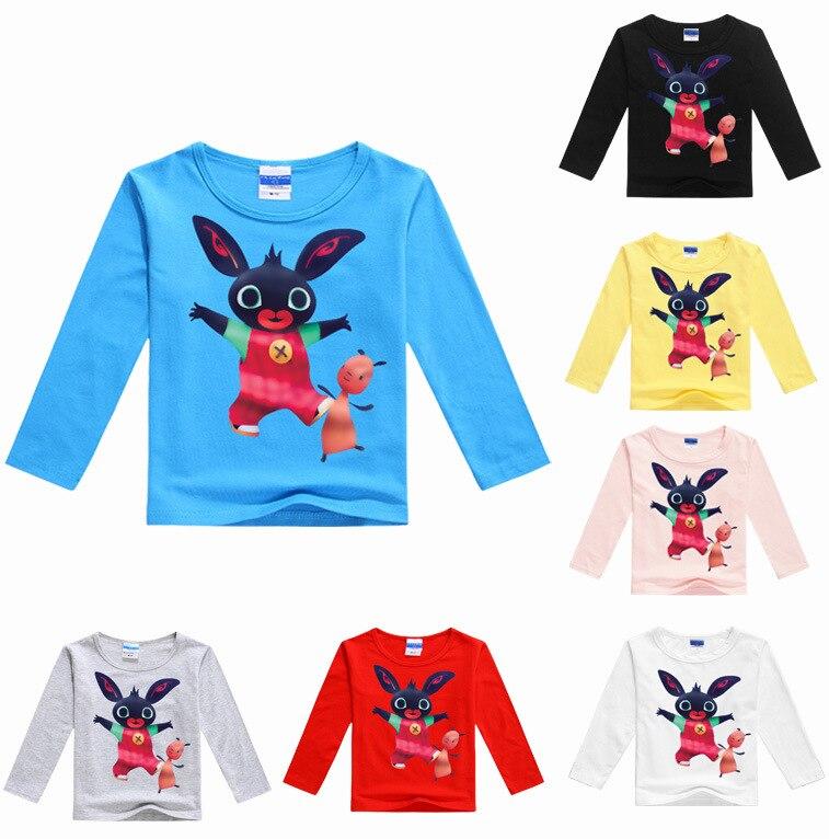 2-16Years Bunny Bing Bung Rabbit Costume Girls Long Sleeve Tops Boy T Shirts for Children T Shirt Jongens Teenage Boys Clothing