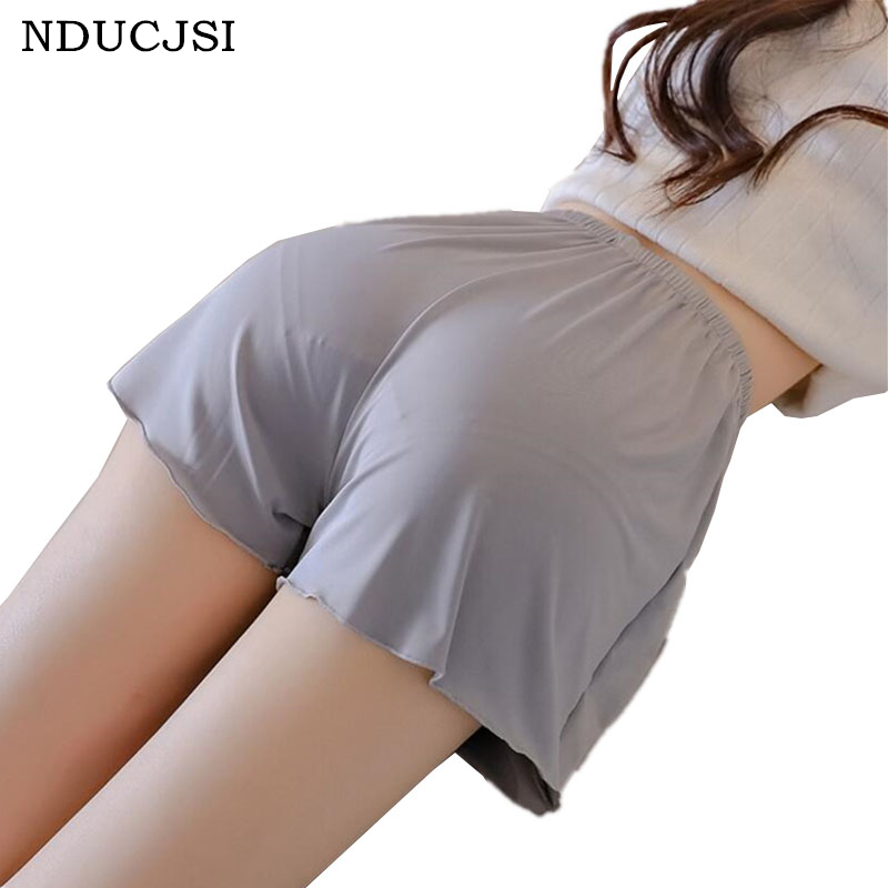 NDUCJSI New Summer   Shorts   Casual Anti-lighting Outer Wear Home High Waist Solid Colors Loose Silk Security Plus Size   Shorts