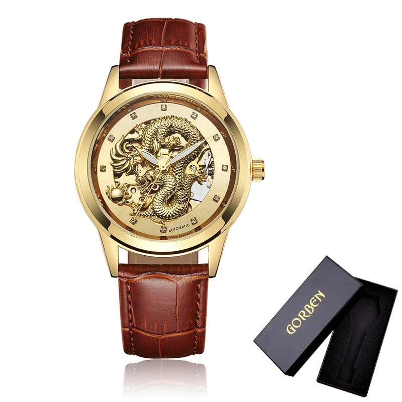 Soft Leather Mens Mechanical Wrist Watch Dragon Pattern Laser Engraving Carving Gold Black Business Men Male Hand Wind Watches brother innov is 90e page 7