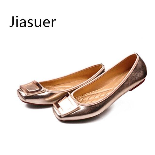 dbd49cfa13cb Jiasuer Gold Black Metal Summer Female Footwear Large Sizes 35-41 Square  Toe Fashion Women s Flat Shoes Leisure Ballerinas Flats