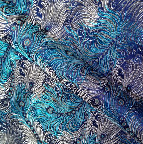 75cm*100cm Brocade cloth fabrics costume doll dress fabric clothing apparel brocade peacock blue bottom dress diy luxury fabric