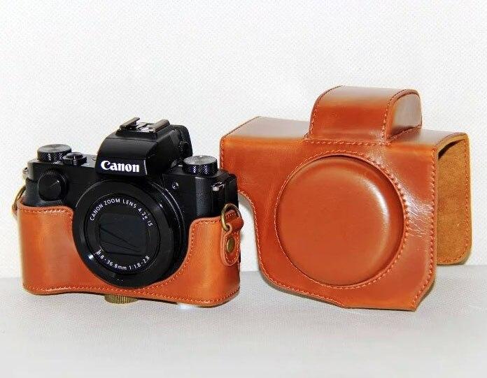 Caméra Vidéo Sac PU Dur Cas pour Canon PowerShot G5X Appareil Photo Numérique (Noir/Brun/Café)