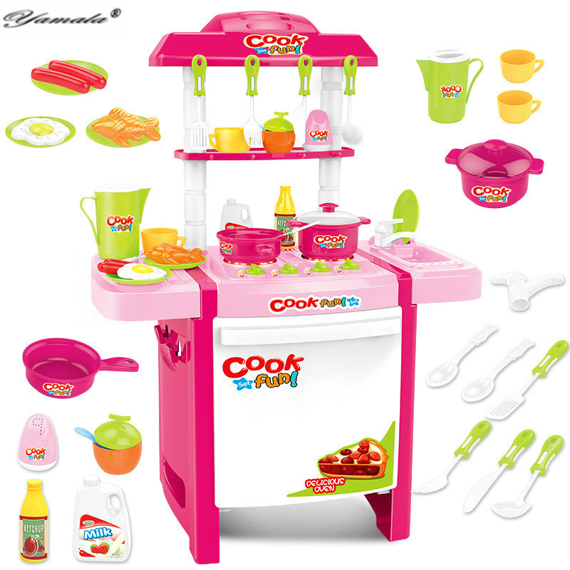 ФОТО Yamala Play Kitchen Set ABS Plastic Kid Food Fruit Kitchen Cooking Toys Role Play Children Cosplay Educational Ablility Develop
