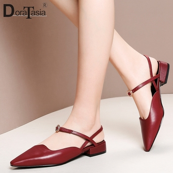 DORATASIA 2019 Large Size 33-43 Genuine Cow Leather Chunky Heels Casual Shoes Woman Sandals Buckle Elegant Sandals Womam Shoes