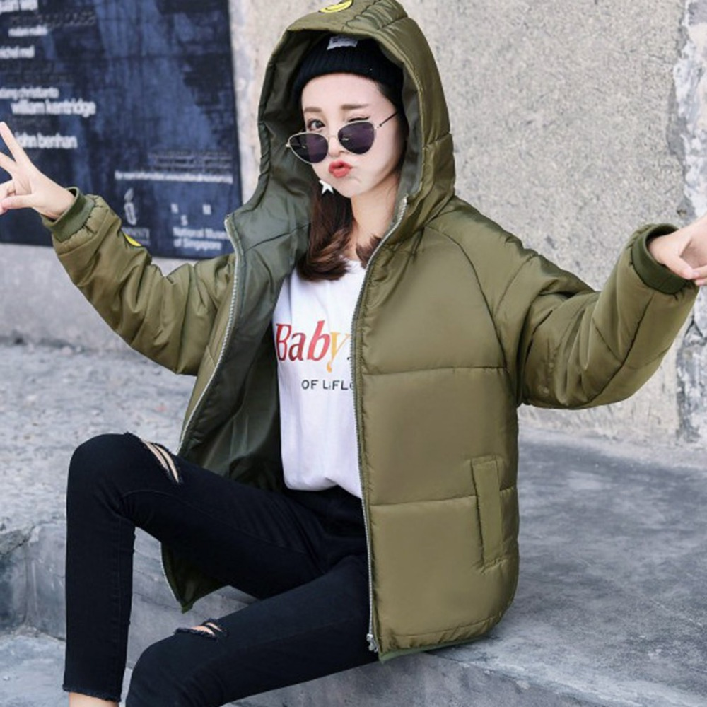 Winter hooded coat women   parka   2018 Thicken Cotton Padded Lining Winter Female Coats students Jacket Smile face pattern overcoat