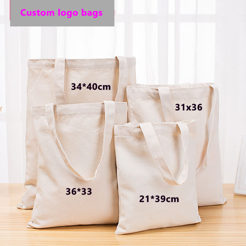 500pcs lot 20x22Hcm 12oz Cotton Fashion Women Durable Canvas Shopping Tote Bags Reusable Foldable Shoulder Bag