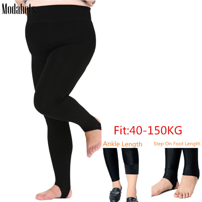 Plus Size Winter Women   Leggings   Thick Velvet Super Big Sizes 6XL   Legging   Black Luster Warm Stretchy Fat MM Ankle Length Pants