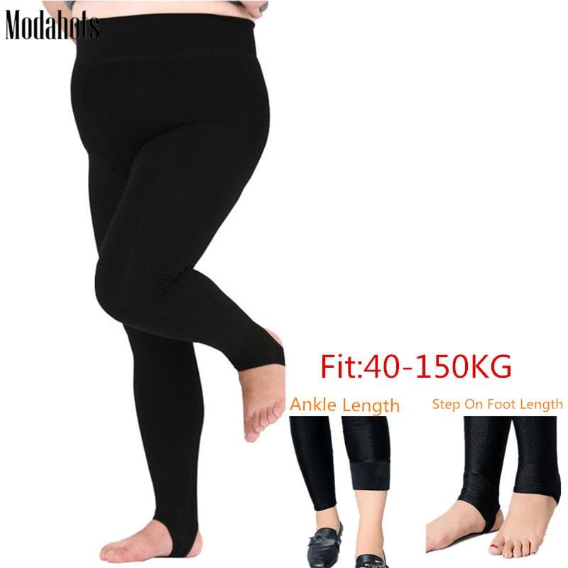 Plus Size Winter Women   Leggings   Thick Velvet Super Big Sizes 6XL   Legging   Black Luster Warm Stretchy Fat MM Ankle Length Pants