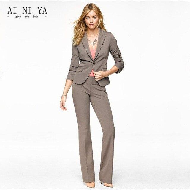 Brown Women Business Suits Peak Lapel Jacket Pants Formal Ladies