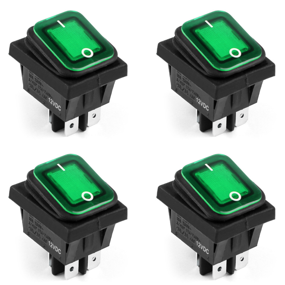 RL2-102 Rocker Switch Waterproof IP65 Boat Car Rocker Switch 4Pin ON/OFF 12V 10A 4PCS Green Hot Selling  Rocker Switches on the open shanghai wing star ship switch kcd6 21n f ip65 waterproof switch 6a 4 foot red 220v