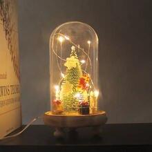 Usb мигающий свет стеклянный абажур мини елочные украшения цветок