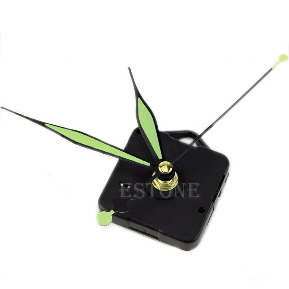QUARTZ CLOCK MECHANISM MEDIUM SPINDLE 130mm GREEN HANDS