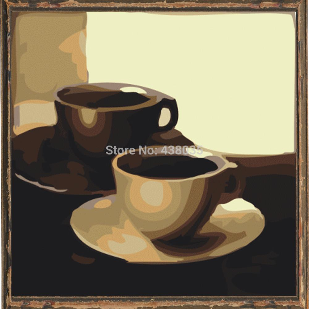 Set Of 3 Coffee Cup Canvas Wraps: Coffee Cup Diy Oil Painting Set Decoration Painting By