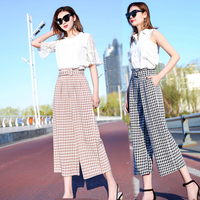 2019 High Waist New Summer Pants Loose Korean Pocket Palazzo Pants Plaid Vintage Casual Fashion Calf length Pants