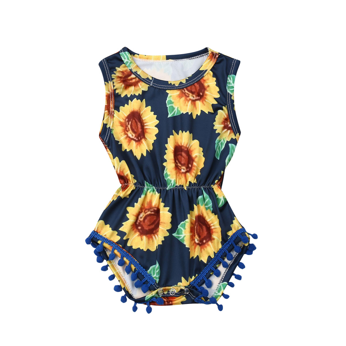 Newborn Baby Girl Sunflower Tassel Romper One-pieces Jumpsuit Toddler Infant Baby Sun Flower Print Outfit Clothes 0-18M