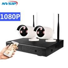 4CH WIFIระบบกล้องวงจรปิดWireless NVR Kit 2PCS 960P HD IPกล้อง 1.3MPกันน้ำกลางแจ้งการเฝ้าระวังความปลอดภัยภายในบ้านระบบ