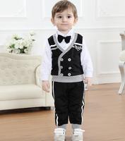 Trajes de fiesta Para Niños Formales Traje de los cabritos Niños Short Negro Sistemas de la ropa de Caballero Empate Vestido de Cumpleaños Traje Ropa Set 4 pcs