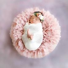 2 unids/lote gasa suave manta redonda para accesorios de fotografía recién nacido diámetro alrededor de 49 50cm regalo para BABY SHOWER