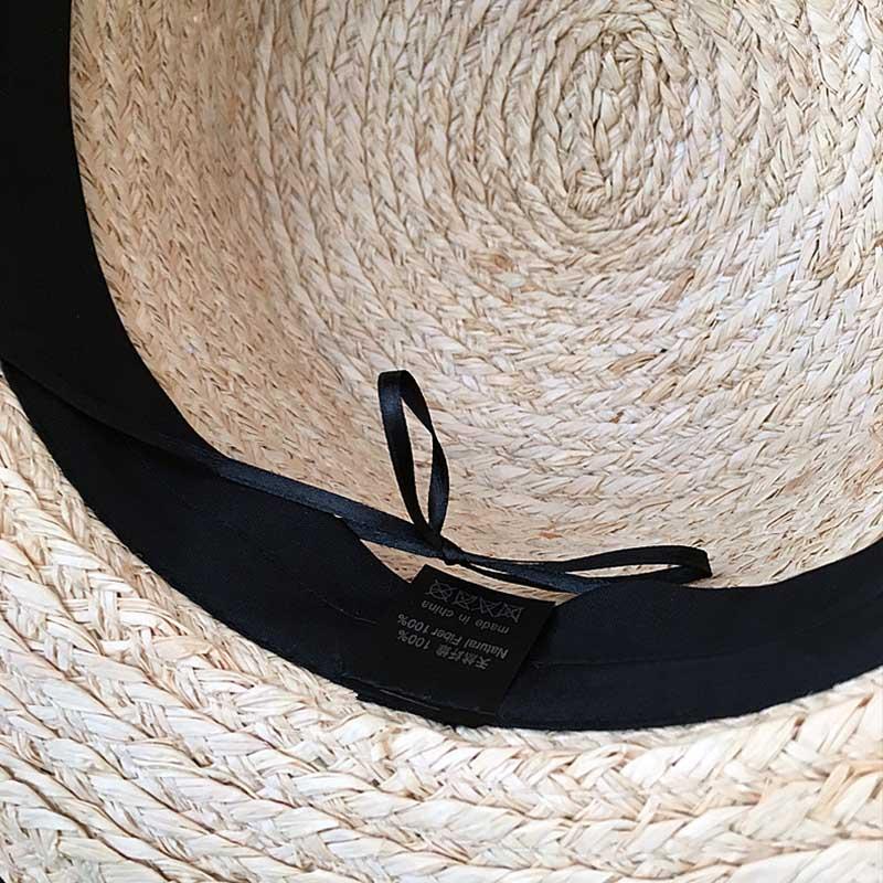 Summer Cap Straw-Hat Ribbon Floppy Wide-Brim Large Women Vocation Wheat 18cm Classical