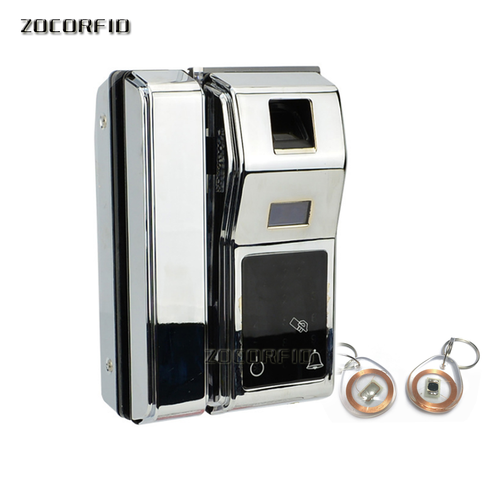 цена на Dry battery Glass Door Lock Office Keyless Electric Fingerprint Lock With Touch Keypad Smart Card or fingerprint unlock