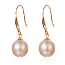 Real 18K Yellow Gold Earrings 7-8mm Natural Pearl Pure Fashion For Women