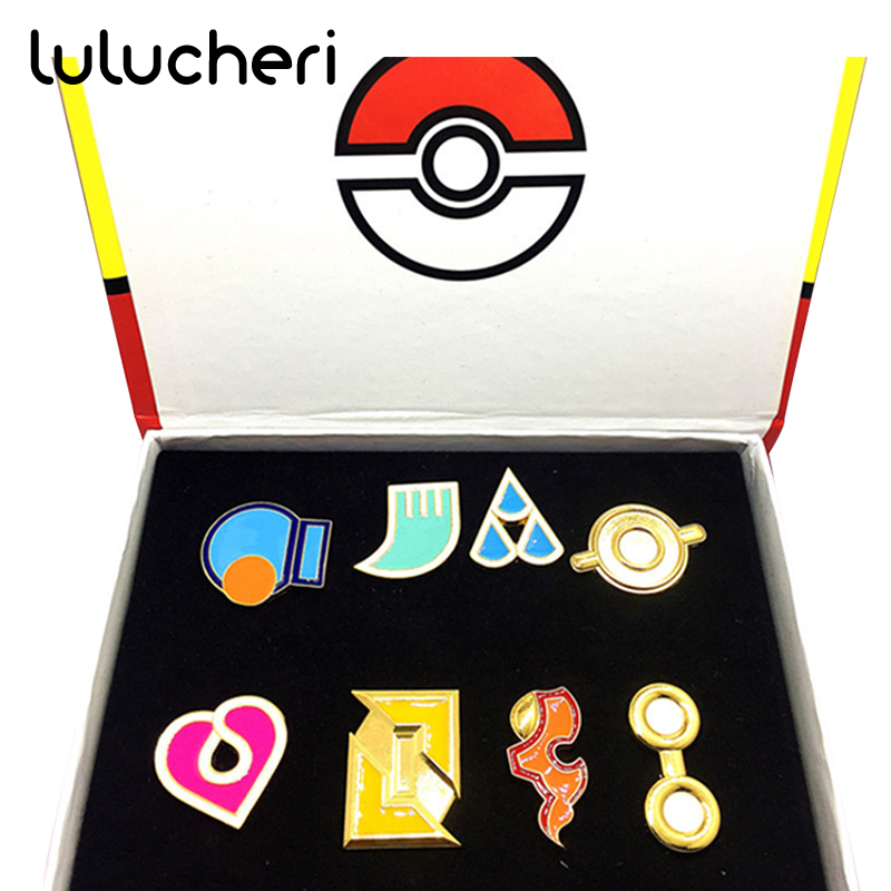 Pokemon Badges Kanto Johto Hoenn Sinnoh Unova Kalos League Region Islands Pins Brooches Pip Christmas Party Accessories Gifts