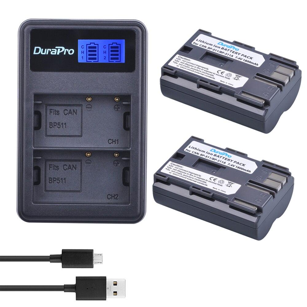2 pc 7,4 V 1800 mAh Bateria BP-511 BP 511 BP-511A Батарея + ЖК-дисплей USB Зарядное устройство для Canon BP-511 BP-511A EOS 50D 40D 30D D60 D30 5D