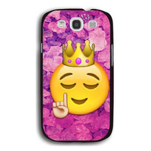 Funny Queen Emoji Pretty Fashion UV Black Bag Case For Samsung S3
