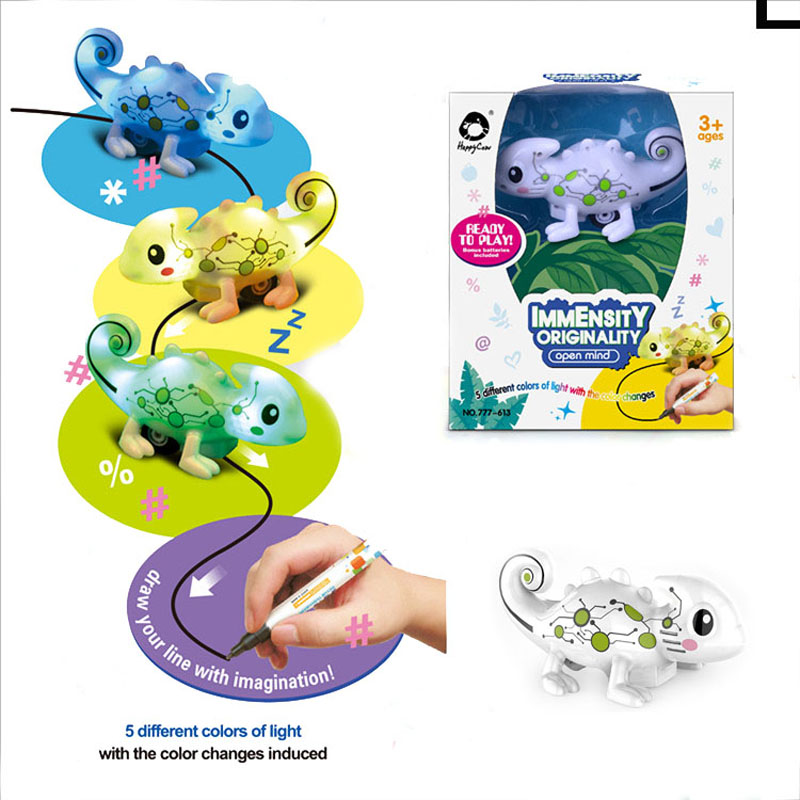 Kids Magic Inductive Chameleon Model Toy [Follows Black Line] With 5 Changeable Colors + 5 Different Sound +Black Pen Magic Toy