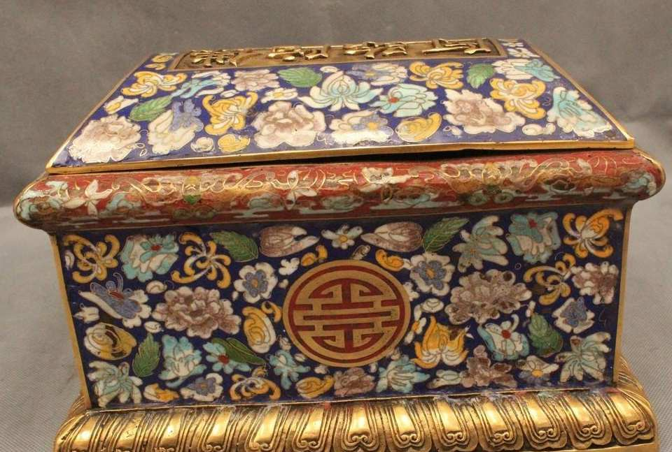 8 Marcado de China Antiguo Cloisonne Budismo Purple Bronce Gild Estatua Caja lection - 5