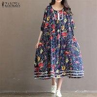 ZANZEA 2017 Bohe Style Women Long Maxi Dresses Casual Loose Flare Sleeve O Neck Floral Print