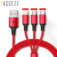!ACCEZZ 3 in1 Usb Charging Cable For IPhone X XS MAX Micro USB Type C Charger Cord Xiaomi Redmi Note 4 Samsung Charge Cables