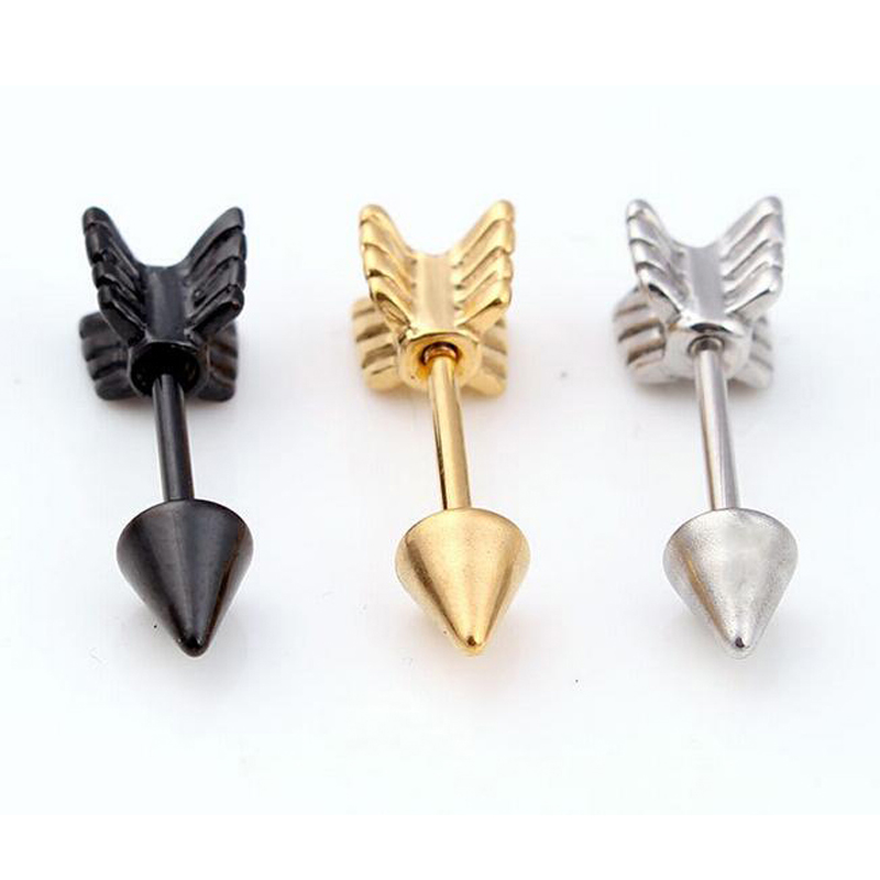 20PCS/PACK arrow earrings man woman fashion stud earrings cool cartilage ear stud