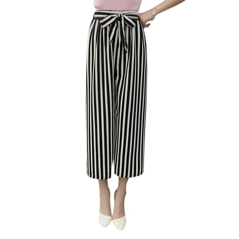 2018 Fashion Summer   Wide     Leg     Pants   Women High Waist Plaid Striped Loose Palazzo   Pants   Elegant Office Ladies Trousers