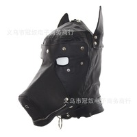 Hot PU Leather Cosplay Black Dog Hood Head Masks Gimp Blindfold Role Play Headgear Halloween Party Roleplay Costume Prop Mask