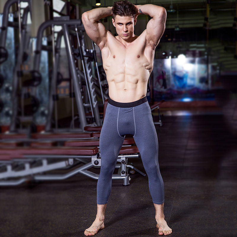 Yuerlian US Local Delivery 3 PCS Gym 3/4 Leggings Men Compression Fitness Tight Pants Sportswear Dry Black Sport Trouser Running