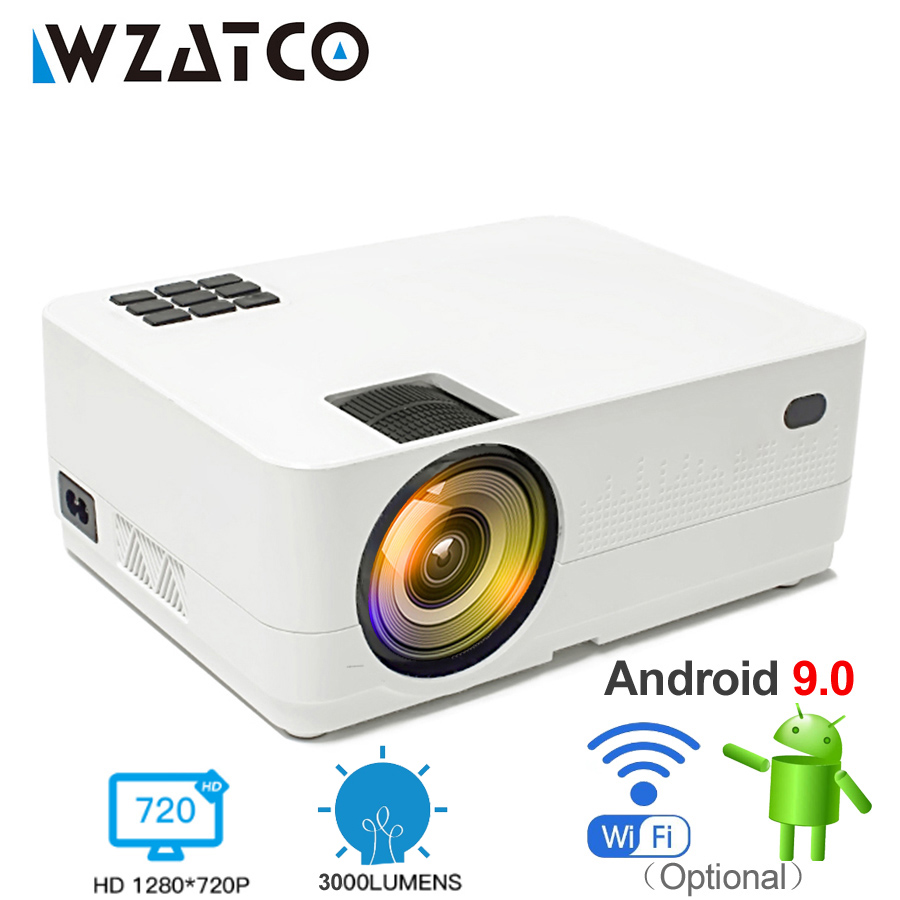 WZATCO HD 720 P 150 pouces Portable Mini 3D LCD LED 4 k projecteur Android 9.0 WIFI en option Home cinéma jeu film cinéma Proyector